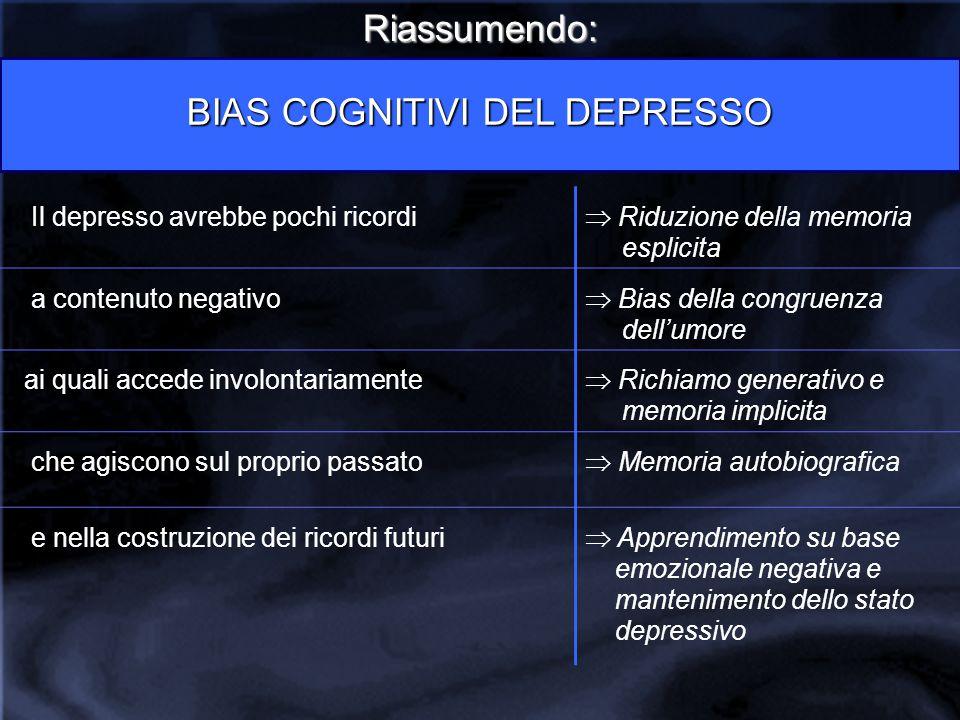 BIAS COGNITIVI DEL DEPRESSO