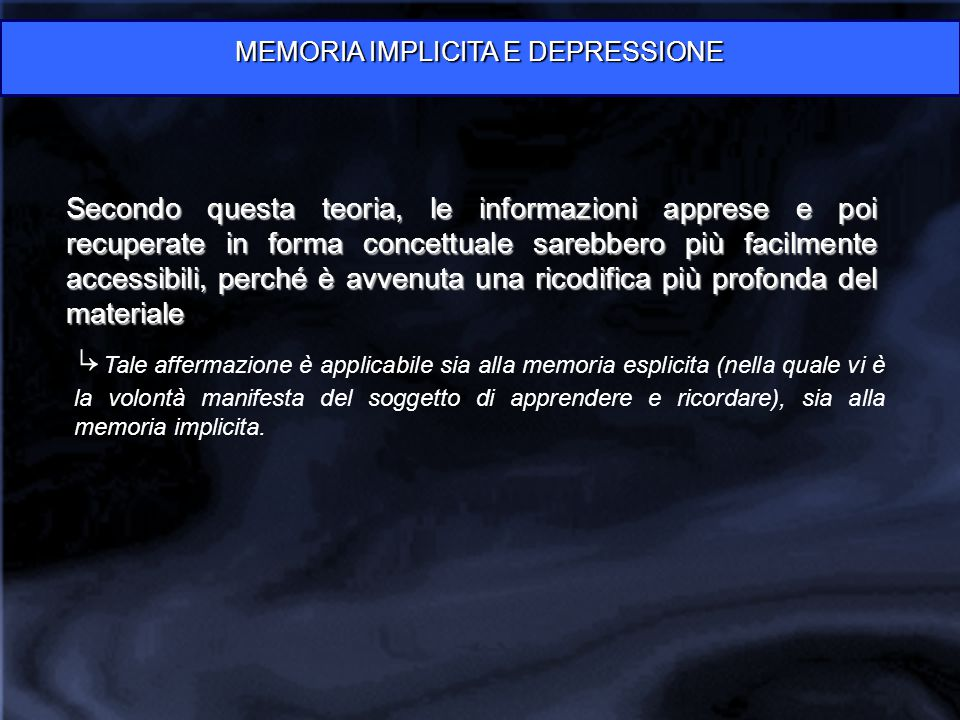 MEMORIA IMPLICITA E DEPRESSIONE