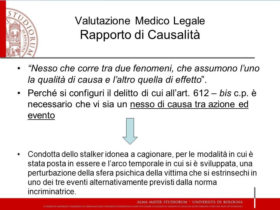 Valutazione Medico Legale Rapporto di Causalità
