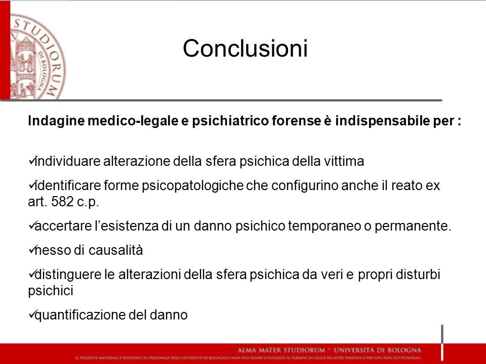 Conclusioni Indagine medico-legale e psichiatrico forense è indispensabile per : individuare alterazione della sfera psichica della vittima.