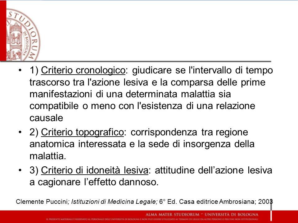 1) Criterio cronologico: giudicare se l intervallo di tempo trascorso tra l azione lesiva e la comparsa delle prime manifestazioni di una determinata malattia sia compatibile o meno con l esistenza di una relazione causale
