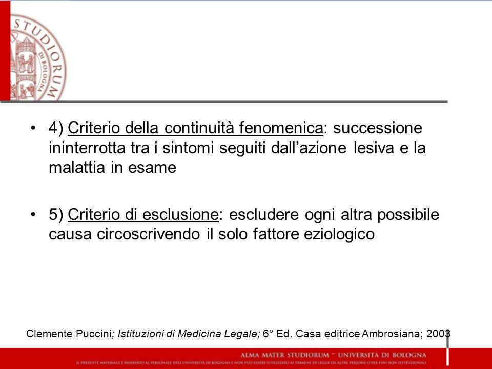 4) Criterio della continuità fenomenica: successione ininterrotta tra i sintomi seguiti dall'azione lesiva e la malattia in esame