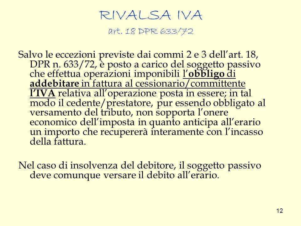 RIVALSA IVA art. 18 DPR 633/72