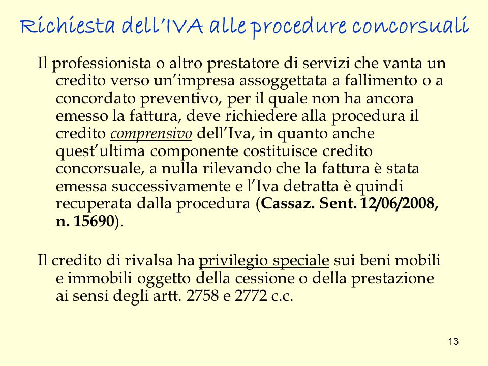 Richiesta dell'IVA alle procedure concorsuali