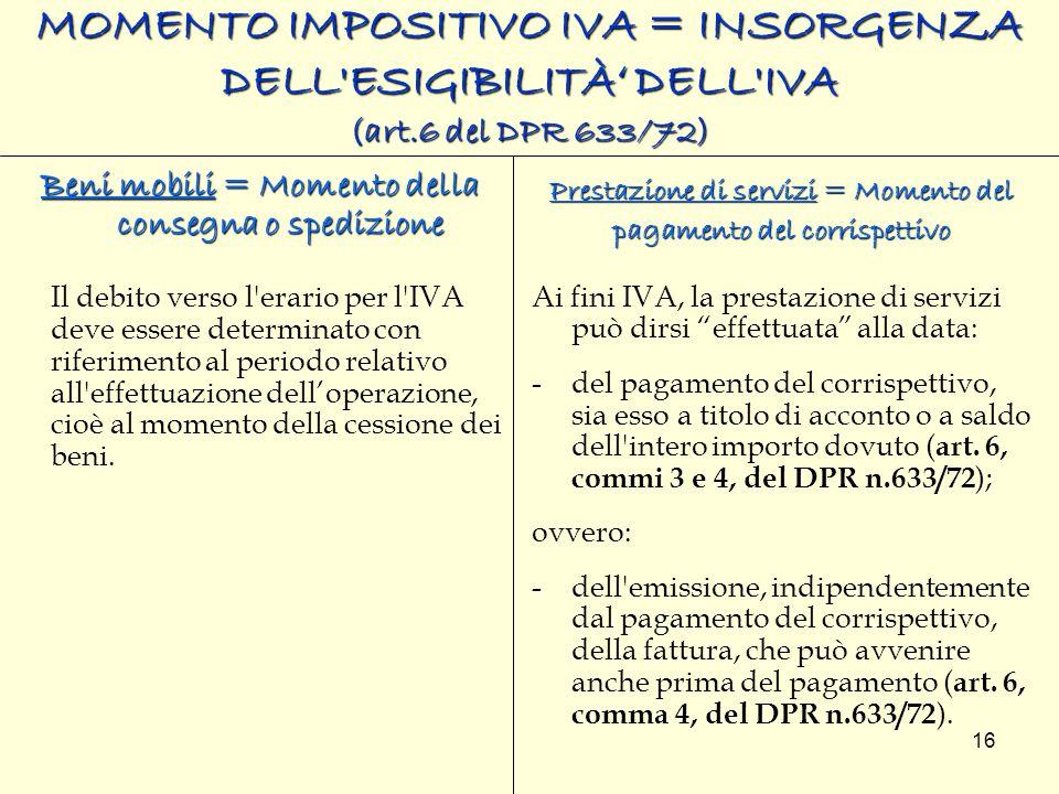 MOMENTO IMPOSITIVO IVA = INSORGENZA DELL ESIGIBILITÀ' DELL IVA (art