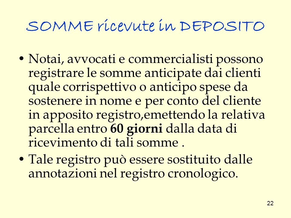 SOMME ricevute in DEPOSITO