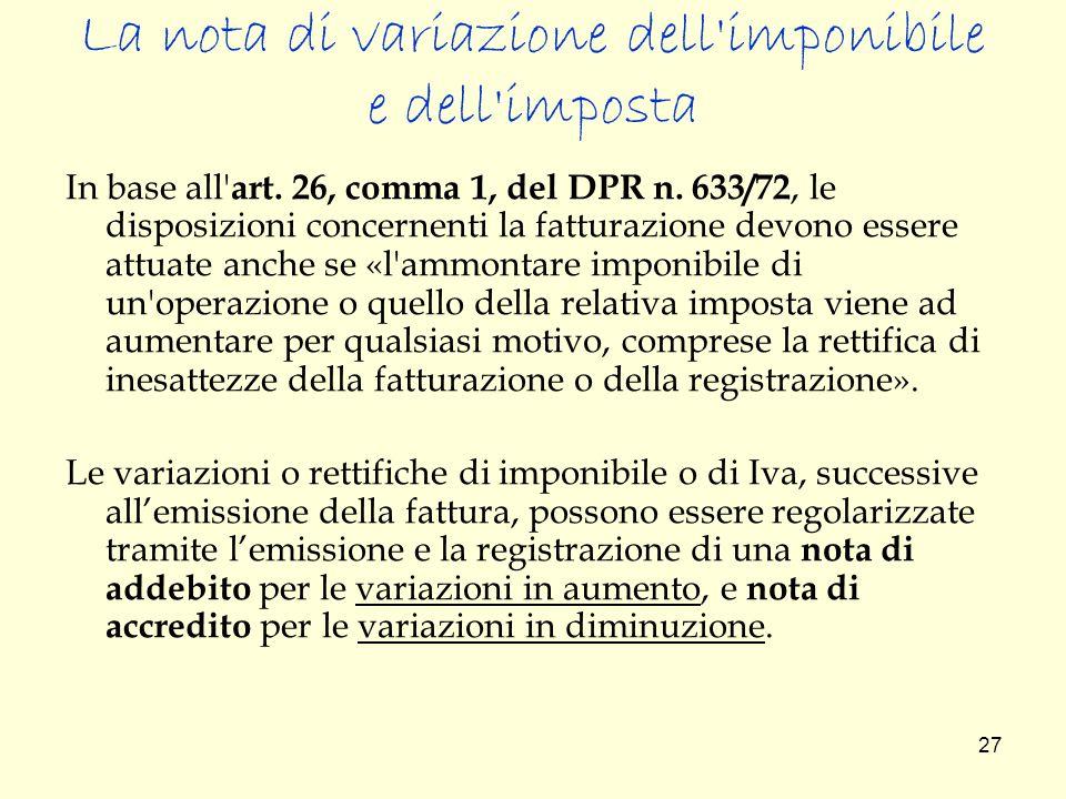La nota di variazione dell imponibile e dell imposta