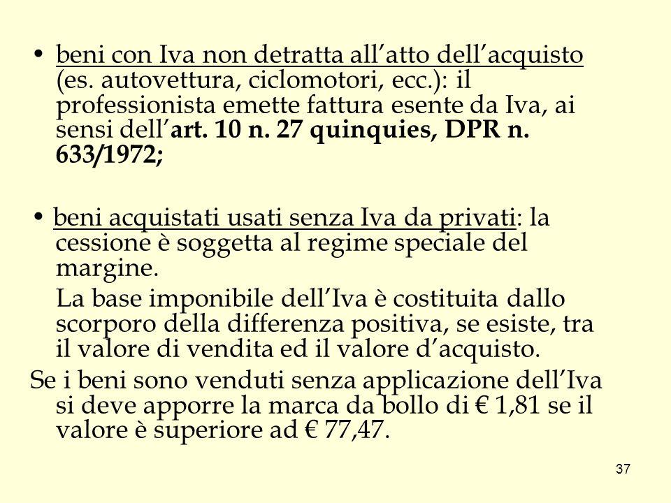 beni con Iva non detratta all'atto dell'acquisto (es