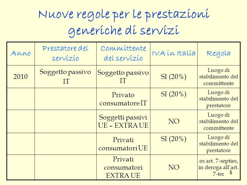 Nuove regole per le prestazioni generiche di servizi