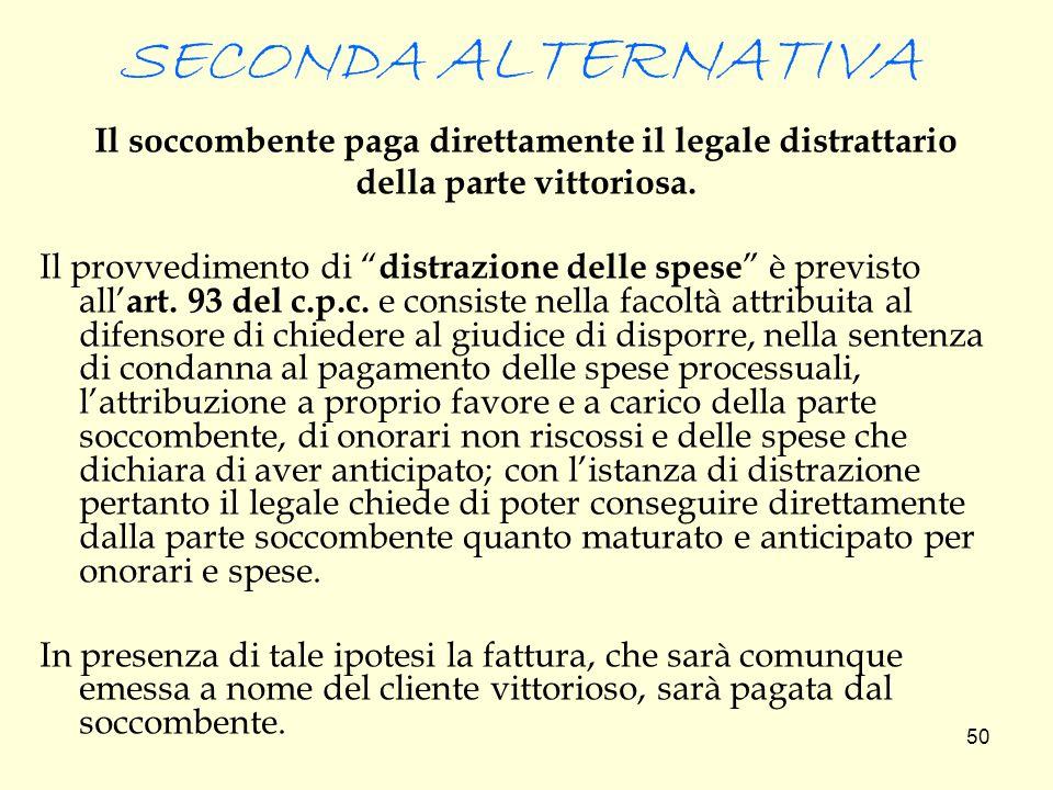 SECONDA ALTERNATIVA Il soccombente paga direttamente il legale distrattario. della parte vittoriosa.