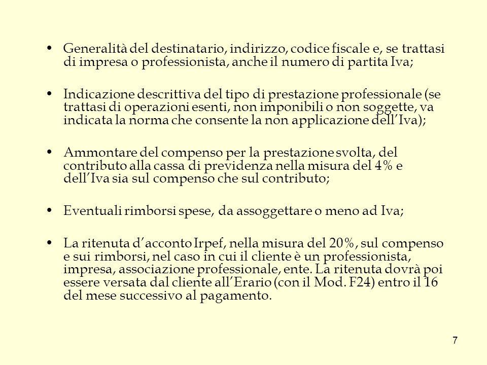 Generalità del destinatario, indirizzo, codice fiscale e, se trattasi di impresa o professionista, anche il numero di partita Iva;