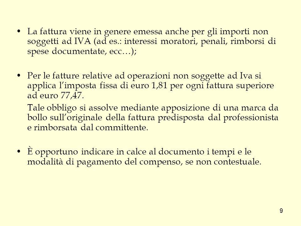 La fattura viene in genere emessa anche per gli importi non soggetti ad IVA (ad es.: interessi moratori, penali, rimborsi di spese documentate, ecc…);