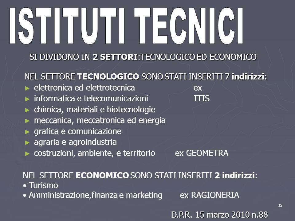 ISTITUTI TECNICI SI DIVIDONO IN 2 SETTORI:TECNOLOGICO ED ECONOMICO