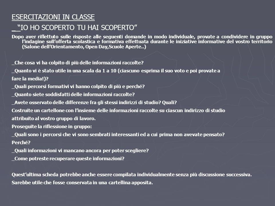 ESERCITAZIONI IN CLASSE _ IO HO SCOPERTO TU HAI SCOPERTO