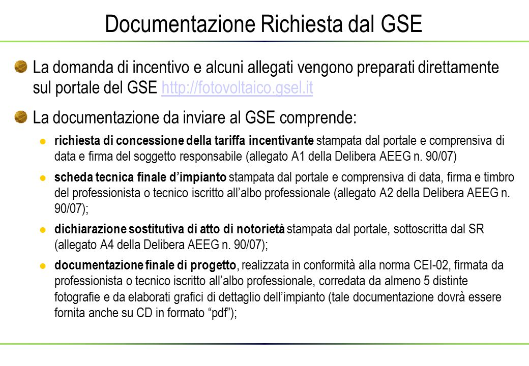 Documentazione Richiesta dal GSE