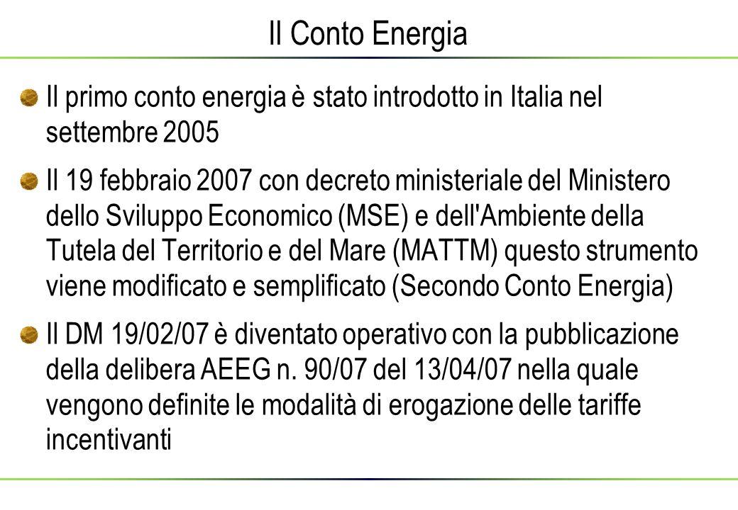 Il Conto Energia Il primo conto energia è stato introdotto in Italia nel settembre 2005.