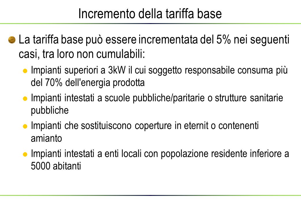 Incremento della tariffa base