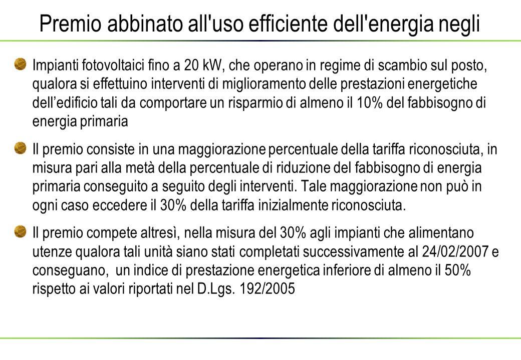 Premio abbinato all uso efficiente dell energia negli