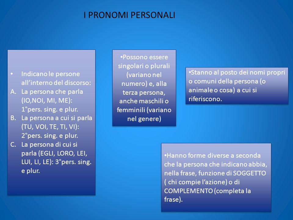 I PRONOMI PERSONALI Indicano le persone all'interno del discorso: La persona che parla (IO,NOI, MI, ME): 1°pers. sing. e plur.