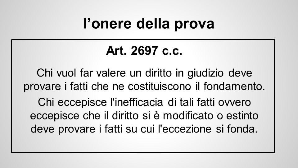 l'onere della prova Art. 2697 c.c. Chi vuol far valere un diritto in giudizio deve provare i fatti che ne costituiscono il fondamento.