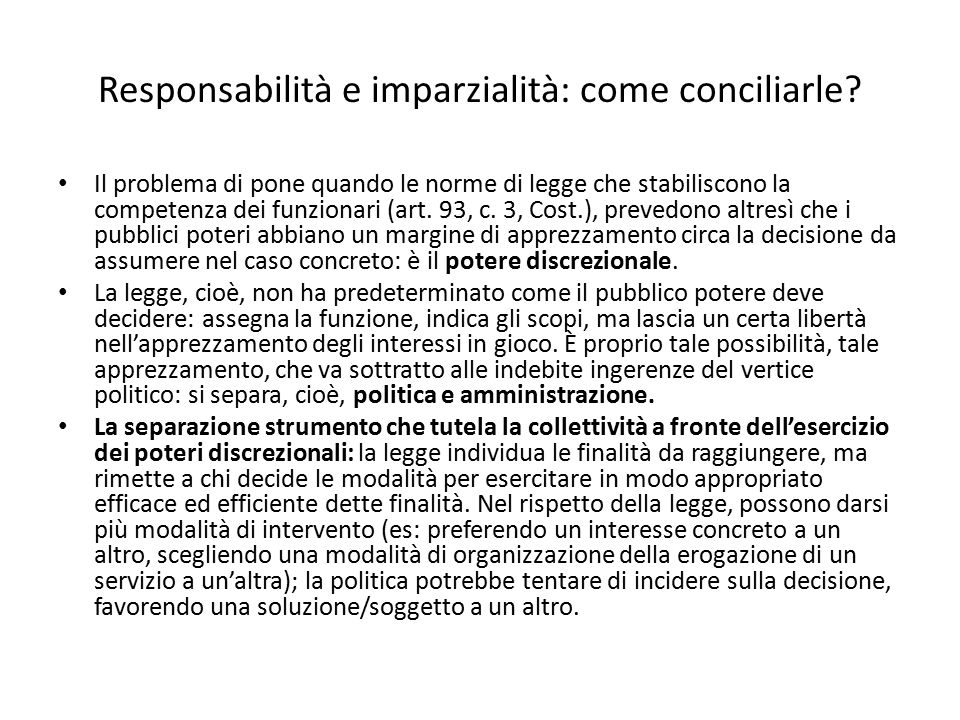 Responsabilità e imparzialità: come conciliarle