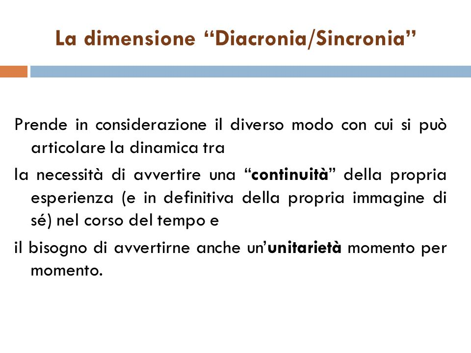La dimensione Diacronia/Sincronia