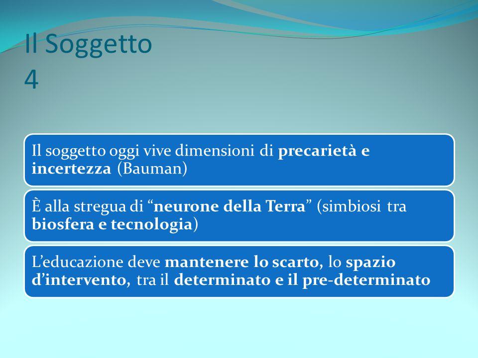 Il Soggetto 4 Il soggetto oggi vive dimensioni di precarietà e incertezza (Bauman)