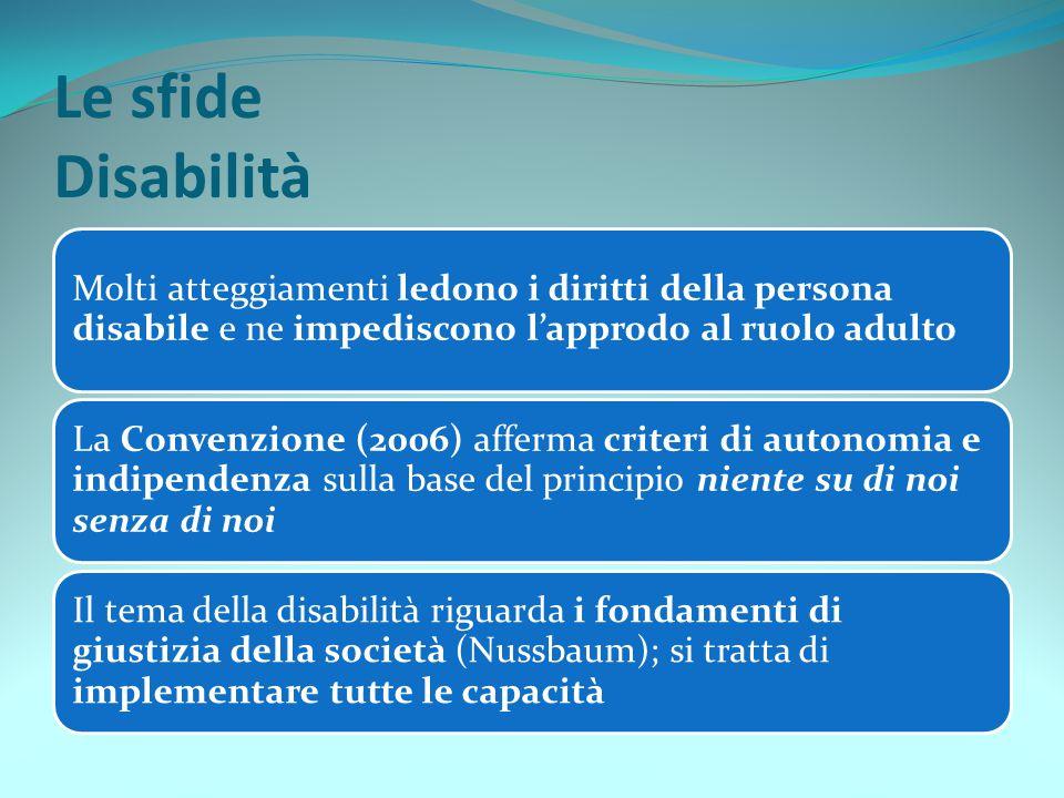 Le sfide Disabilità Molti atteggiamenti ledono i diritti della persona disabile e ne impediscono l'approdo al ruolo adulto.