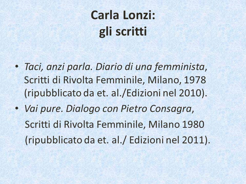 Carla Lonzi: gli scritti