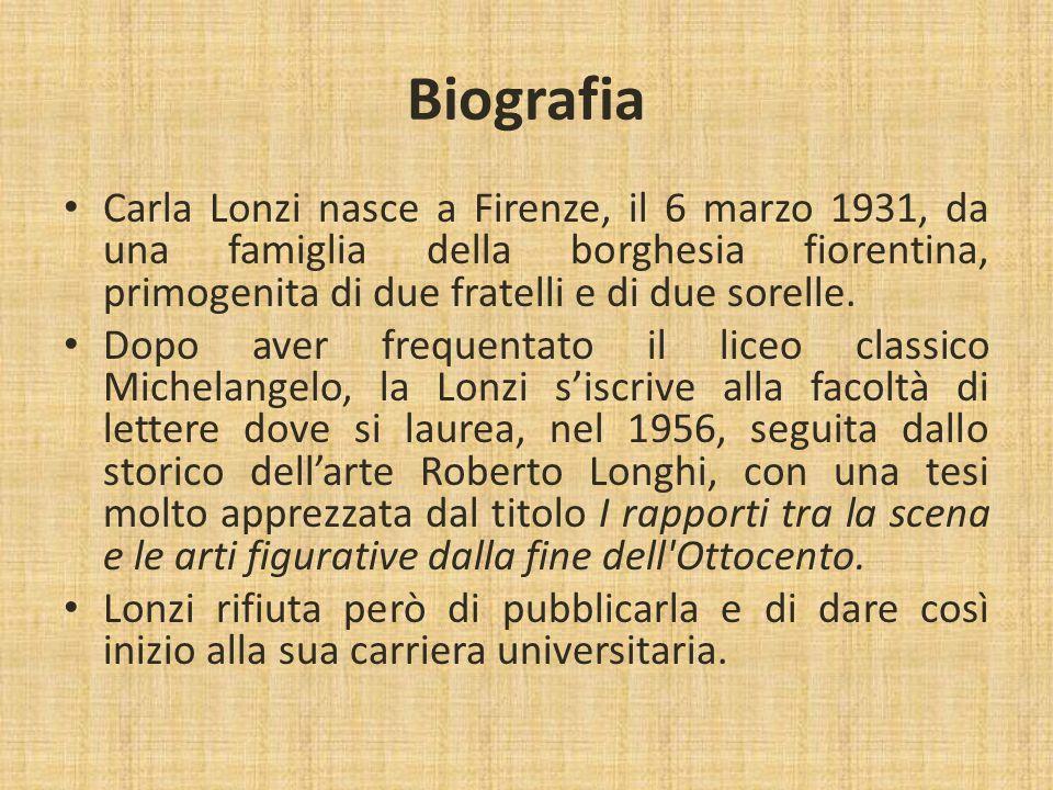 Biografia Carla Lonzi nasce a Firenze, il 6 marzo 1931, da una famiglia della borghesia fiorentina, primogenita di due fratelli e di due sorelle.