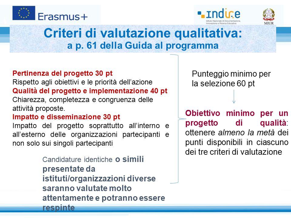 Criteri di valutazione qualitativa: a p. 61 della Guida al programma