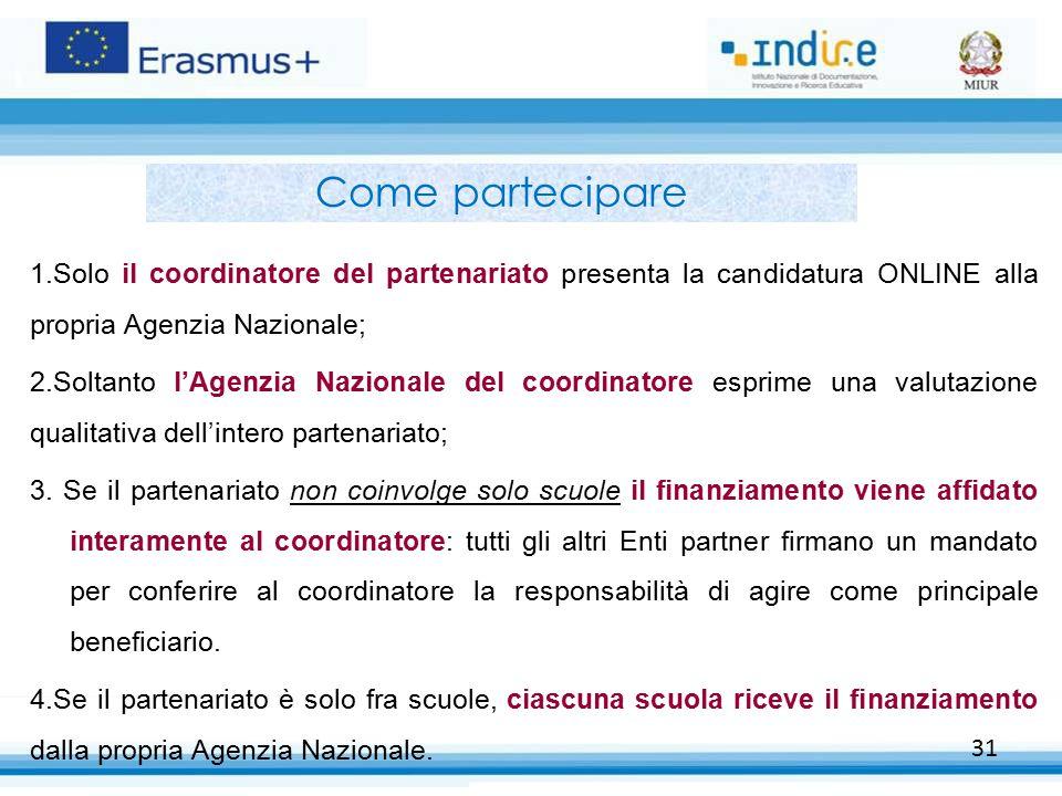 Come partecipare Solo il coordinatore del partenariato presenta la candidatura ONLINE alla propria Agenzia Nazionale;