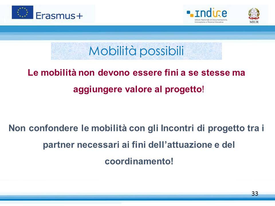 Mobilità possibili Le mobilità non devono essere fini a se stesse ma aggiungere valore al progetto!