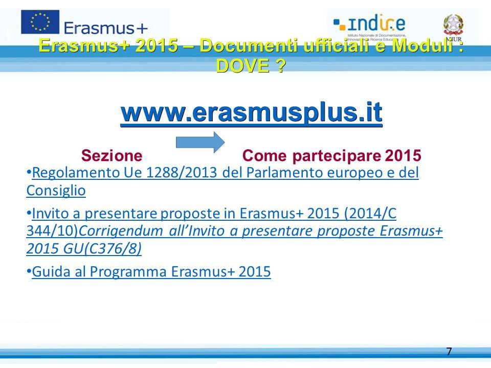 Erasmus+ 2015 – Documenti ufficiali e Moduli : DOVE. www. erasmusplus