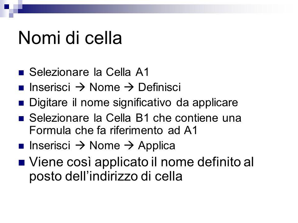 Nomi di cella Selezionare la Cella A1. Inserisci  Nome  Definisci. Digitare il nome significativo da applicare.