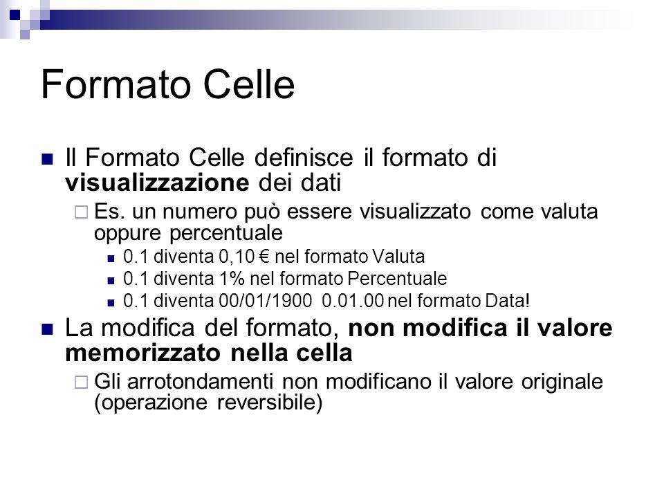 Formato Celle Il Formato Celle definisce il formato di visualizzazione dei dati.