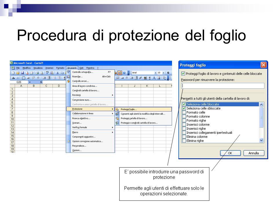Procedura di protezione del foglio