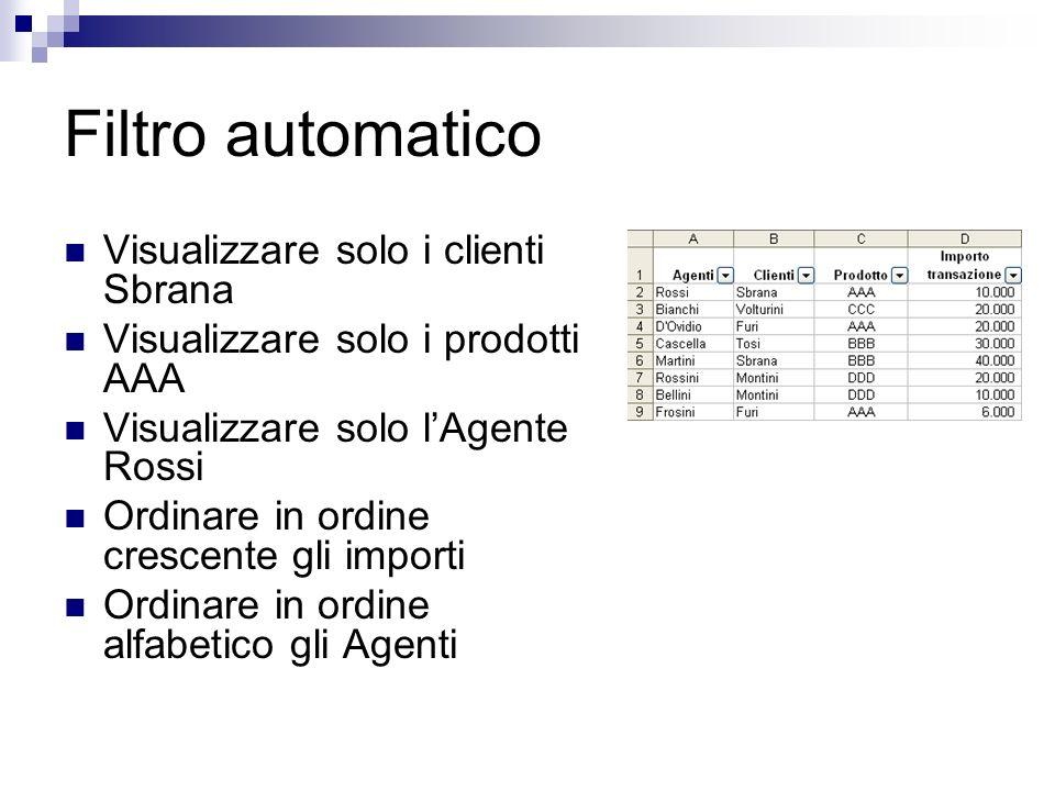 Filtro automatico Visualizzare solo i clienti Sbrana