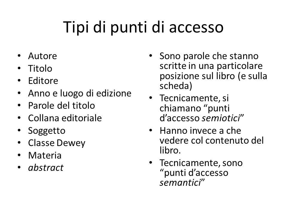 Tipi di punti di accesso