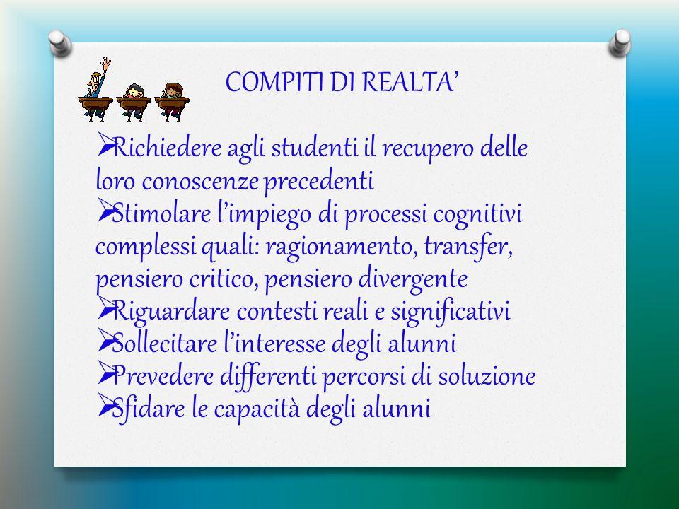 COMPITI DI REALTA' Richiedere agli studenti il recupero delle loro conoscenze precedenti.