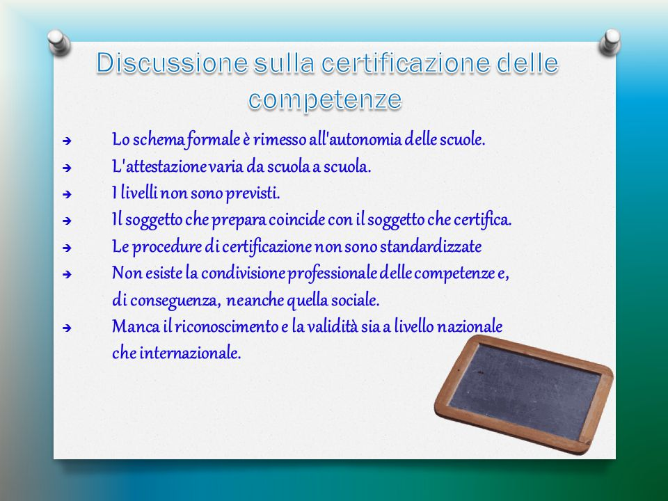 Discussione sulla certificazione delle competenze