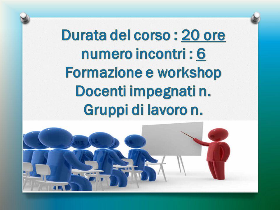 Durata del corso : 20 ore numero incontri : 6. Formazione e workshop.
