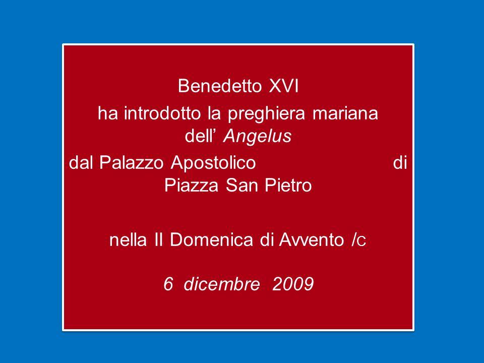 Benedetto XVI ha introdotto la preghiera mariana dell' Angelus dal Palazzo Apostolico di Piazza San Pietro nella II Domenica di Avvento /C 6 dicembre 2009