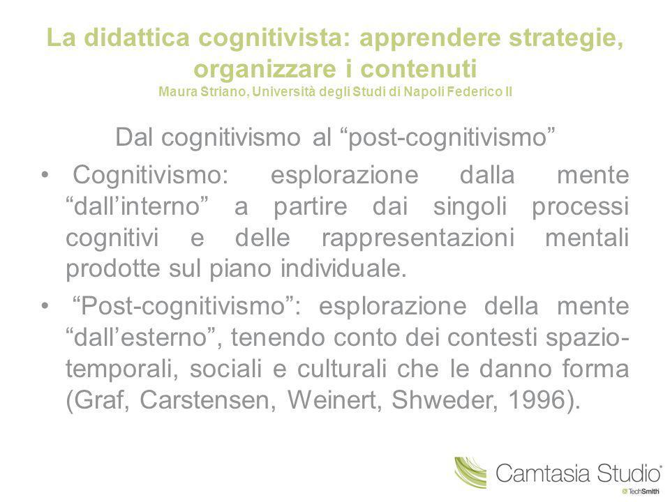 Dal cognitivismo al post-cognitivismo