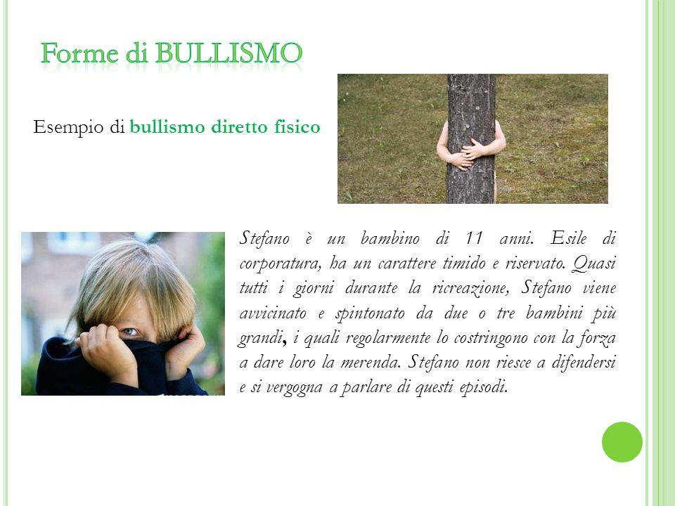 Forme di BULLISMO Esempio di bullismo diretto fisico