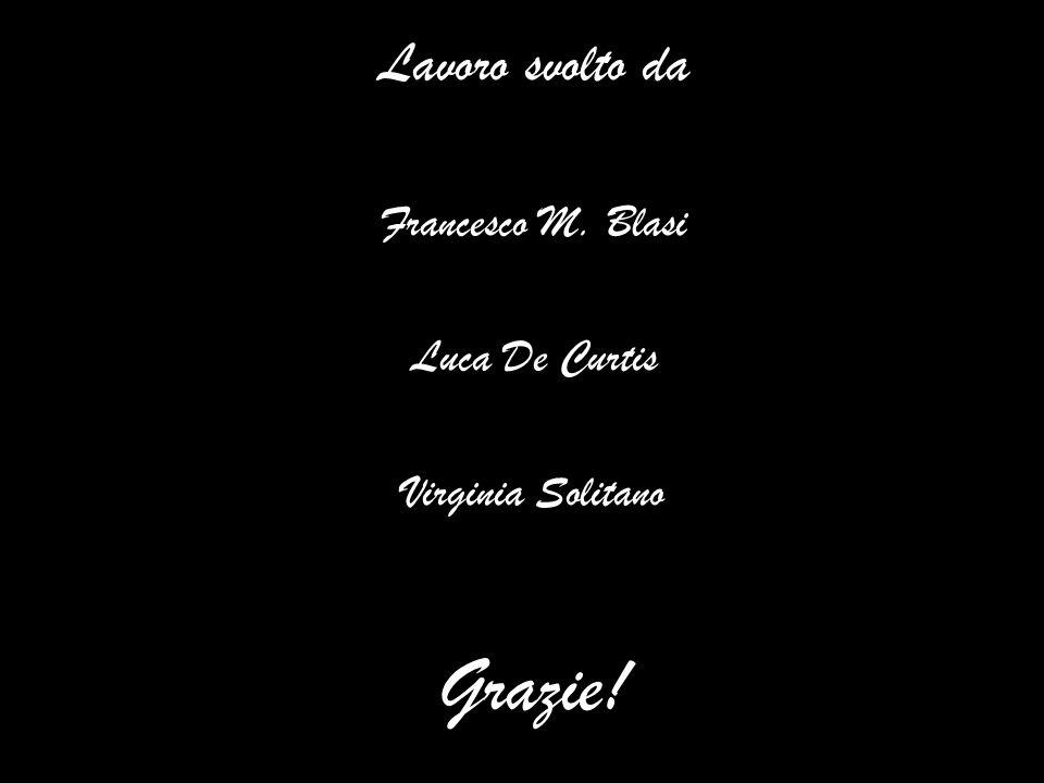 Grazie! Lavoro svolto da Francesco M. Blasi Luca De Curtis