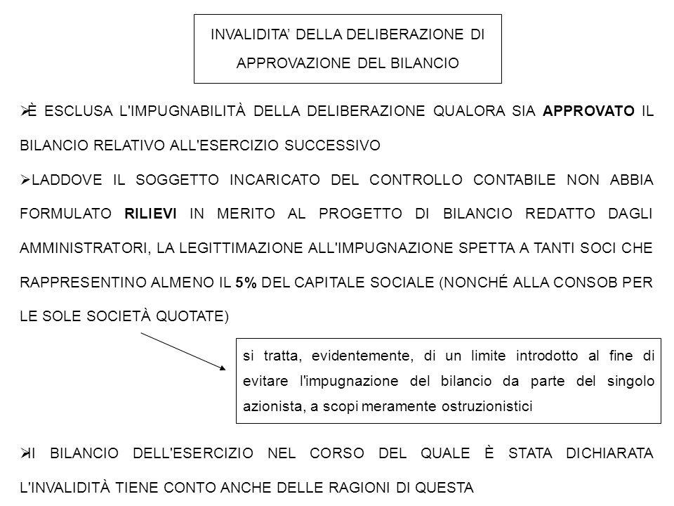INVALIDITA' DELLA DELIBERAZIONE DI APPROVAZIONE DEL BILANCIO