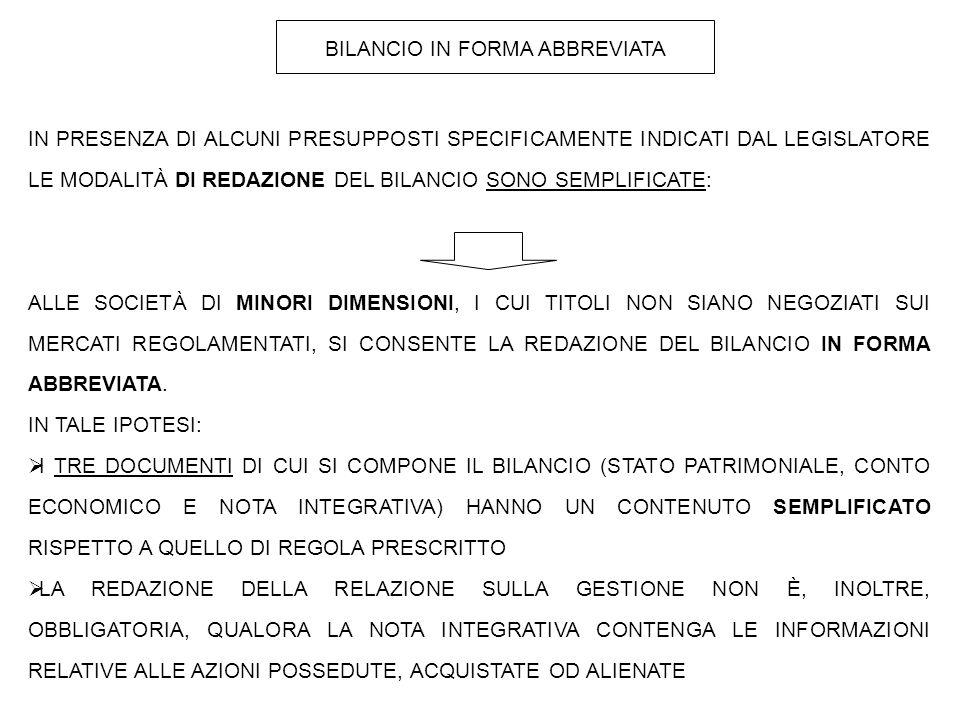 BILANCIO IN FORMA ABBREVIATA