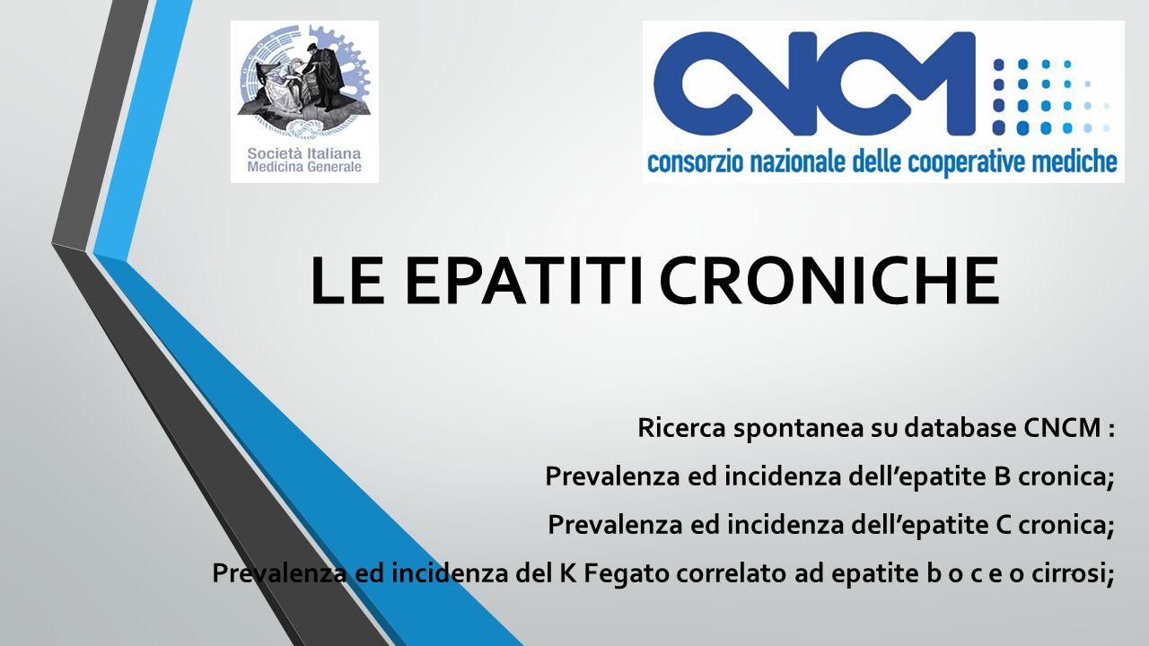 LE EPATITI CRONICHE Ricerca spontanea su database CNCM :