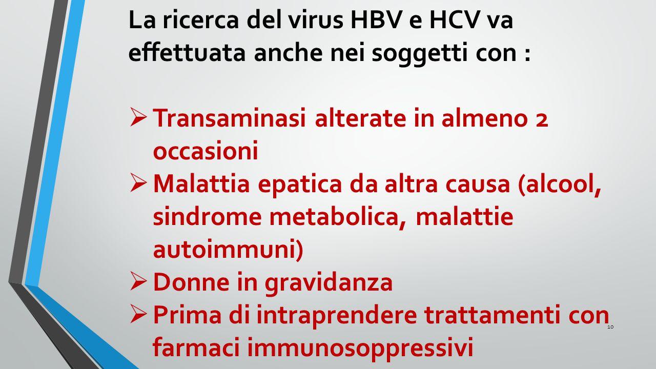 La ricerca del virus HBV e HCV va effettuata anche nei soggetti con :